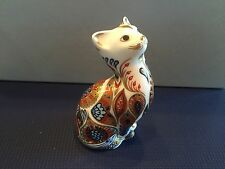 Royal Crown Derby Cat Paperweight Imari Bone China Figurine