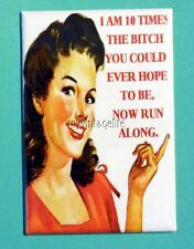 "I am 10 times the Bitch you could ever hope to be. 2"" x 3"" Fridge MAGNET humor"