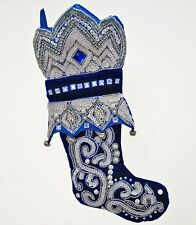 Gorgeous Katherine's Collection Azure Blue Small Christmas Stocking Sequins NEW