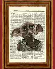 Dobby Harry Potter Dictionary Art Picture Poster Upcycled Vintage Book Gift