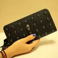 Punk Style Unisex Clutch Bag Skull head Design Handbag Fashion Wallet Purse RI