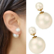 Fashion 1 Pair Women's Double Sided White Stud Pearl Front Back Earrings Studs