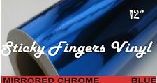 """4 ft Roll BLUE MIRRORED Chrome ADHESIVE Outdoor Vinyl 12"""" SIGNS Crafts DECALS"""