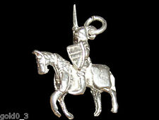 Knight on Horseback charm sterling silver 925 charmmakers 3D