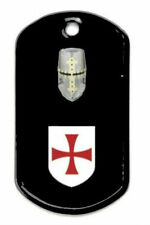 Medieval Templar Knight Crusades Holy Land Battle Shield Dog Tag Pendant Chain X