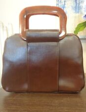 Estate Genuine Brown Leather Satchel Plastic Handle Purse