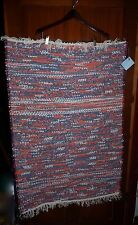 "Handmade American 28 x 44"" 100% Cotton Rag Rug Red White Blue"