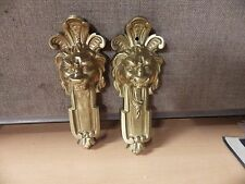VINTAGE FILIGREE EMBOSSED DOOR DRAWER BRASS PLATE LION DOOR PULLS EXCELLENT