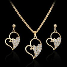 Heart Women Rhinestone Crystal Pendant Necklace Dangle Love Earrings Jewelry Set