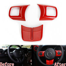 3x Interior ABS Steering Wheel Cover Trim For Patriot Compass Wrangler 2011 Red