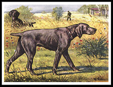 Weimaraner Dogs At Work Great Vintage Style Dog Print Poster