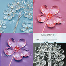 12 David Tutera Crystal Flower Picks w Rhinestone Center Gem Bling Wedding Party