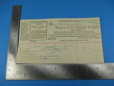 CH Graves & Sons Foreign Wines & Spirits Whiskies Letterhead Invoice 1901 S3443