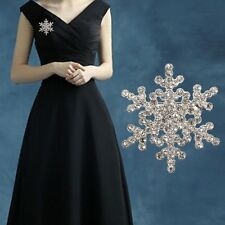 New Xmas Gift Silver Snowflake Brooch Diamante Rhinestone Crystal Broach Pin