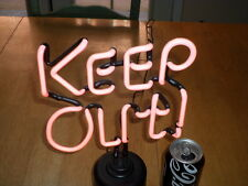 """"""" KEEP OUT """" NEON LITE SIGN, VINTAGE -NEW IN THE BOX, 12"""" INCH PINK COLORED NEON"""