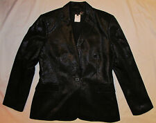 JUST CAVALLI lurex shiny black glam Bowie blazer 1 button jacket IT 48 womens M
