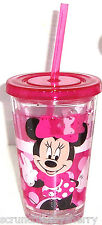 Disney Store Minnie Mouse Tumbler with Straw Acrylic Pink Kids Cup New