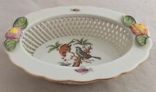 Vintage Herend Hungary Porcelain Rothschild Bird 7379 Small Lattice Applied Bowl