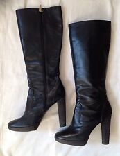 Michael By Michael Kors Black Leather Knee High Heeled Boots Sz 8 M