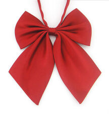 New Women Jujube red Unique Ladies Girls Satin Novelty BIG Bow Tie Wedding Decor