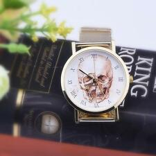 Men Women's Fashion Cool Skull Dial Current Alloy Band Analog Wrist Watch Wathes