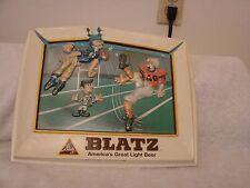 """BLATZ  BEER 1975 FOOTBALL SIGN VAC-U-FORM HEILEMAN BRG. 12"""" X 10""""  KICKER N CHIN"""