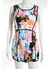 ANGEL BIBA Multicolored Floral Scoop Neck Sleeveless Romper Sz 8