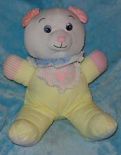 Applause Plush Cotton Cloth Yellow Teddy Bear Baby Rattle Pink Ears Stuffed Toy