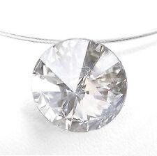 NEU 42cm+6cm EDELSTAHL COLLIER 14mm SWAROVSKI STEIN kristallklar/klar HALSKETTE