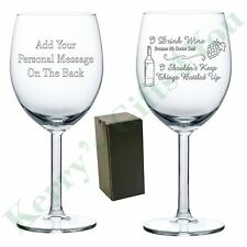 Engraved Wine Glass Drink Wine - Bottled Up Funny Novelty Wine Lovers Gift B-Day