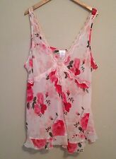 womens plus size 3X nightgown nightie chemise floral pink red sheer lingerie