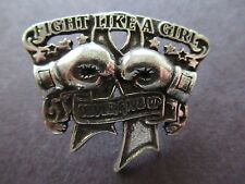 Fight Like A Girl Boxing Gloves Pin Never Give Up - Silver - Jewelry