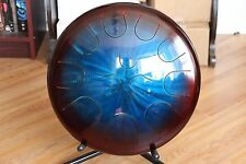 "Ajna 16"" 12 Tone Blue/Red Tongue Drum with Case E Phrygian Scale USA Made"