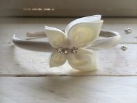 Ivory Satin Headband Alice Band Hairband Ivory Butterfly Bridesmaid Flower Girl