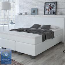 Designer Boxspringbett Bett Hotelbett Doppelbett Kunstleder Weiß 140x200 cm