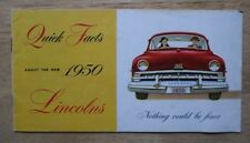 LINCOLN orig 1950 USA Mkt Quick Facts sales brochure - Cosmopolitan Sport Sedan