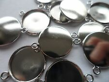 10 x 14mm Connector settings bases bezels blanks~10 Silver Settings 14mm tray