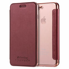 Plating Clear TPU Back Leahter Card Pocket Wallet Case Cover for iPhone 7/6 Plus