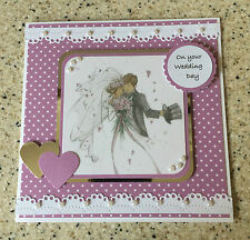 """Cute Handmade Lili of the valley Happy Wedding day card bride & groom 6"""" square"""