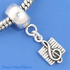 TREBLE CLEF MUSIC .925 Solid Sterling Silver EUROPEAN EURO Dangle Bead Charm