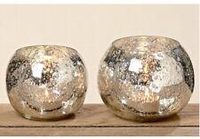 Bauernsilber Windlicht  Teelichthalter Glas Silber Shabby Neu