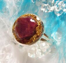 ORGONITE Ring with natural RUBY & REAL GOLD - open your heart and welcome wealth