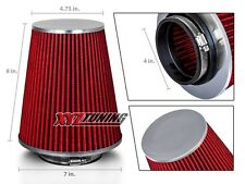 "4"" RED Truck Long Performance High Flow Cold Air Intake Cone Dry Filter"