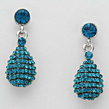 "Lush Glam Silver 1.25"" Blue Zircon Pave Crystal Cocktail Earrings Rocks Boutique"