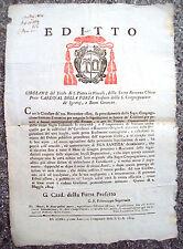 1804 BANDO DA ROMA SU TASSE PER LE TRUPPE. DEL CARDINALE DI GUBBIO DELLA PORTA