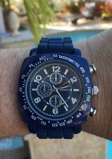 Mens Silicone Jelly Rubber Geneva Blue Large Face Metal Face Chronograph Watch