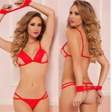 Women's Lingerie Red Lace Bikini + G string + Handcuff Sex Toys Nightwear VF175