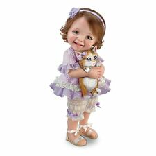 Jane Bradbury Poseable Child Doll With Sculpted Kitty - By The Ashton-Drake