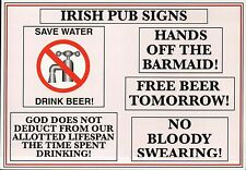 Irish Pub Signs, Great St. Patrick's Day Gift Note, Funny Comic Ireland Postcard
