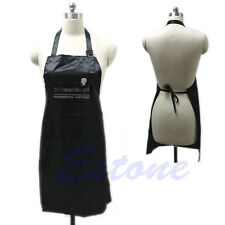 Black Adjustable Bib Apron Uniform With 2 Pockets Hairdresser Salon Hair Tool
